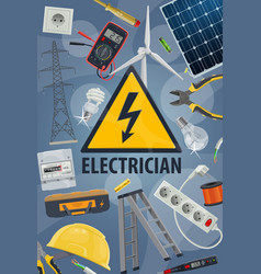 Electric service electricity equipments and tools vector
