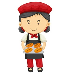Female baker holding tray of bread vector