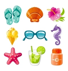 Fine colorful sea vacation icon set vector