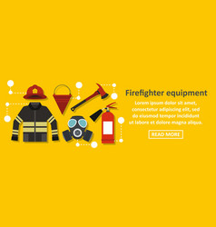 firefighter equipment banner horizontal concept vector image