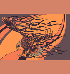 flaming eagle on colored background vector image