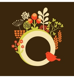Flower banner with cute little bird vector image