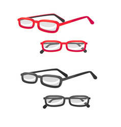 Glasses in different view in cartoon style vector