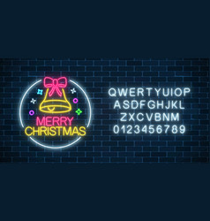 Glowing neon christmas sign with christmas bell vector