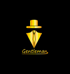Golden gentleman logo vector