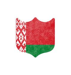 grunge shield shaped flag belarus stock on vector image
