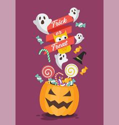 halloween pumpkin basket on trick or treat poster vector image