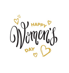 happy women day seal with hand drawing calligraphy vector image
