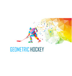 hockey player silhouette polygonal vector image