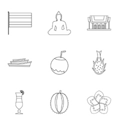 Holiday in Thailand icons set outline style vector image