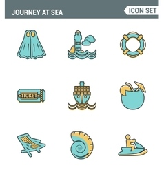 Icons line set premium quality of journey at sea vector image