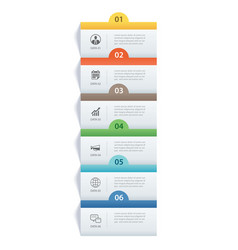 infographics rectangle paper index with 6 data vector image