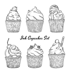 Ink hand drawn cupcakes set isolated vector image