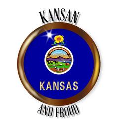 Kansas proud flag button vector