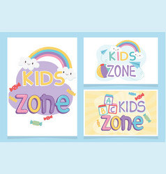 Kids zone inscriptions funny rainbow clouds candy vector