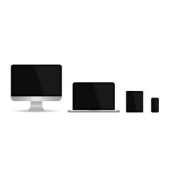 laptop computer monitor tablet phone pc device vector image