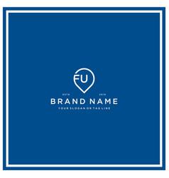 Letter fu pin logo design vector