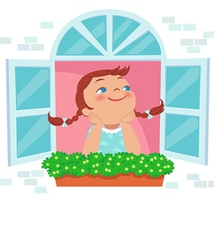 little girl day dreaming at the window vector image