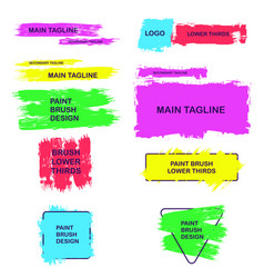 Lower thirds of brush strokes paints text boxes vector