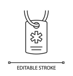 medical alert id necklace linear icon vector image
