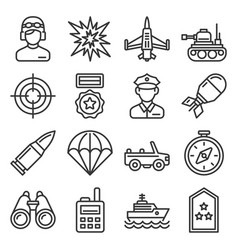 military icons set on white background line style vector image