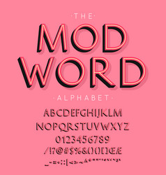 Mod word font and alphabet with numbers vector