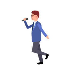 music performer male with mike dancing gesturing vector image