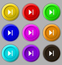 Next track icon sign symbol on nine round vector
