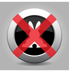 No white back Easter bunny - metal button vector