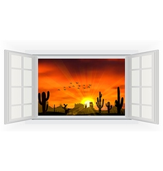 Open window of cactus tree when the sunset vector