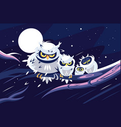 Owls sitting on branch in front of full moon vector