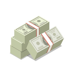 packing in bundles of dollars isometric 3d icon vector image
