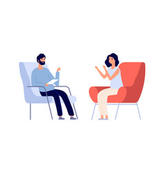 Partners talking man woman discuss problems flat vector