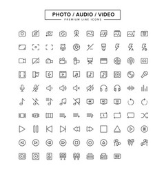 Photo audio video line icon set vector