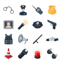 police set icons in cartoon style big collection vector image