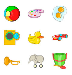 Rare toy icons set cartoon style vector