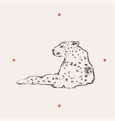 Realistic leopard drawn vector