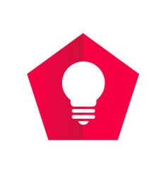 red pentagon with lightbulb icon - logo design vector image
