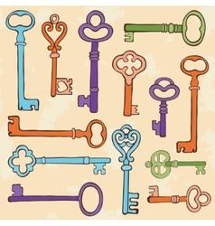 Retro style keys composition vector image