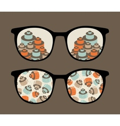 Retro sunglasses with details reflection in it vector image