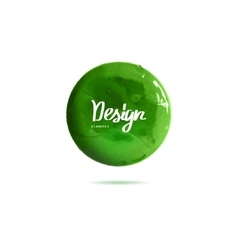Round green banner painted with paint vector
