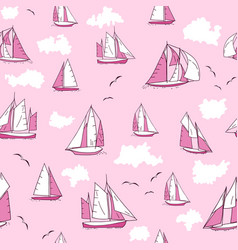 Seamless pattern with yachts seagulls and clouds vector