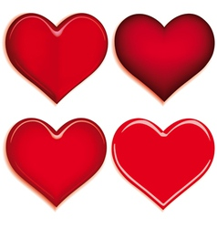 set of 4 valentine heart vector image