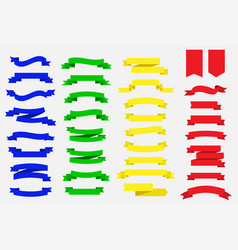 set of ribbon banners blue green yellow and red vector image