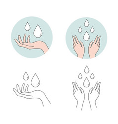 set washing hands with water vector image