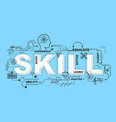 skill word for education with icons flat design vector image