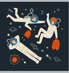 Space tourism concent group astronauts dressed vector