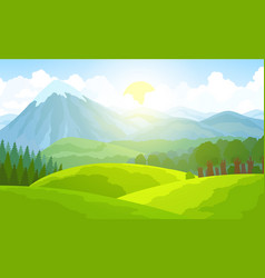 Summer mountain landscape green valley vector
