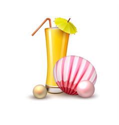 summer vacation realistic juice glass shell vector image