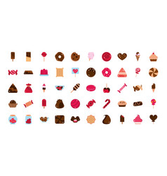 Sweet confectionery snack food candy icons vector